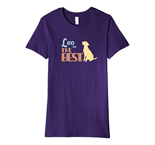 Personalized Pet T-shirt - Womens Leo the Dog Personalized Cute Gift T-Shirt Womens & Girls Large Purple