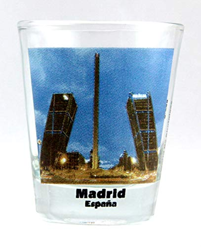 Madrid Spain Gate Of Europe Leaning Towers Color Photo Shot Glass