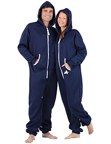 Footed Pajamas Family Matching Oxford Blue Adult Footless Hoodie Onesie - Large Plus