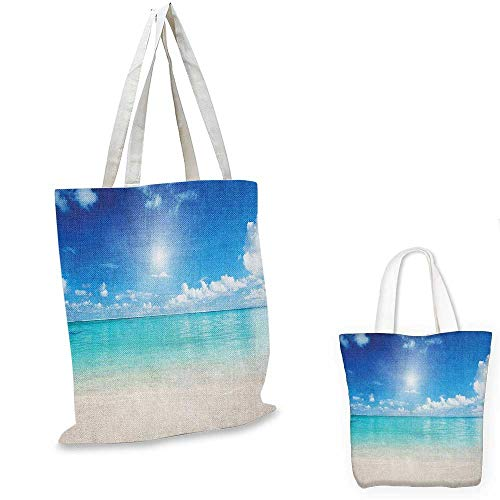 Ocean canvas shoulder bag Sky and Sea Landscape Golden Sand Tropical Beach Clouds Sun Hot Heaven canvas lunch bag Cream Turquoise White. 15