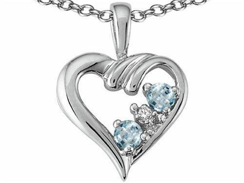 - Tommaso Design Round 3mm Genuine Aquamarine Heart Pendant Necklace 14 kt Yellow Gold