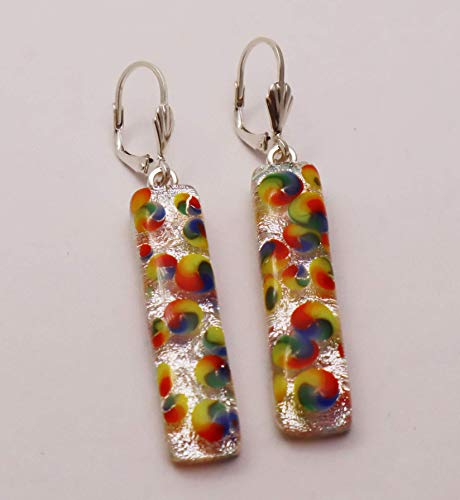 (Exceptional Rainbow Spiral Fused Dichroic Glass Earrings Sterling Silver Lever-back Ear Wires)