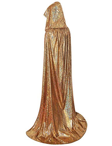 (GRACIN Unisex Halloween Christmas Hooded Cloak, Full Length Shiny Snake Skin Costume Mardi Gras Party Cape (Gold Laser,)