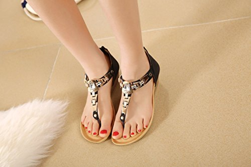 cheville de Sandal dqq sangle Noir String femmes Wedge HanEwcvUq