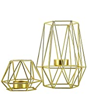 HighFree Metal Wire Iron Tealight Candle Holders for Tables Decor Living Room Bathroom Decorations Gold Geometric Shape Holders Set of 2