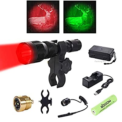 Bizoom KL25 Cree Red Green Hunting Flashlight Long Range Rechargeable Varmint Light Kit Gun Mounted Rifle Torch for Hog Fox Coyote with Scope Mount,Remote Pressure Switch,18650 Battery&Charger