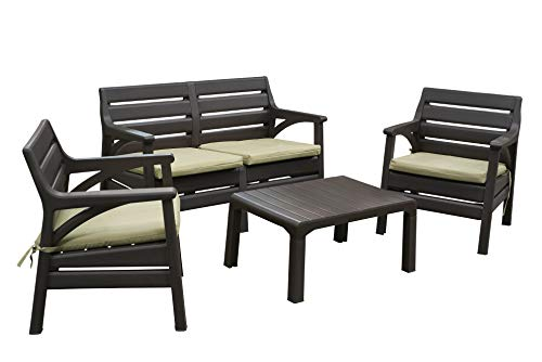 - Superio Premium Weather Resistant Patio Furniture Set Cushioned Loveseat with Matching Chairs & Accent Outdoor Table 4 Color Options to Match Your Decor & Yard Backyard Poolside Furniture (DARK BROWN)