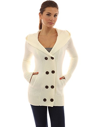 PattyBoutik Women's Hoodie Double Breasted Knit Sweater Coat (Off-White M)