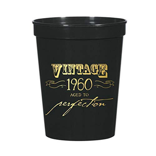 Vintage 1960 Aged to Perfection Cups for a 60th Birthday Party Decor or Partyware, Set of 10 Plastic Stadium Cups, Funny Gag Gift 60th Party Decor