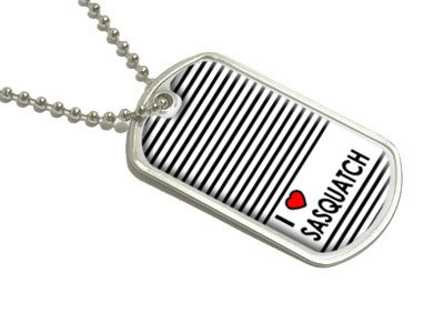 I Love Heart Sasquatch - Bigfoot - Military Dog Tag Luggage Keychain
