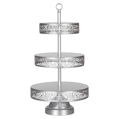 Amalfi Decor 3 Tier Dessert Cupcake Stand, Tower Display for Weddings Events Parties Antique Decor Pedestal, Reversible Plates, Victoria Collection (Silver)