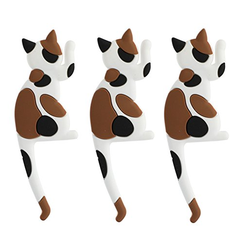 Creative Household Cat Tail Refrigerator Magnets Hook, Multi-Use Animal Pothook Wall-mounted Hooks (3 - Pack)