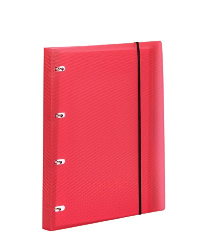 Pardo 822502 - Carpeta cuaderno de anillas con cierre de goma en polipropileno studio style, color rojo: Amazon.es: Oficina y papelería