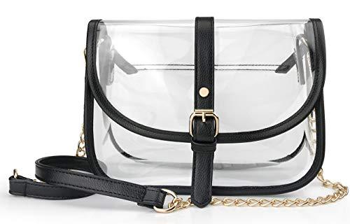 Clear Saddle Cross Body Bag Women Chain Shoulder Handbag Purse with Faux Leather Trim - Saddle Cross Body