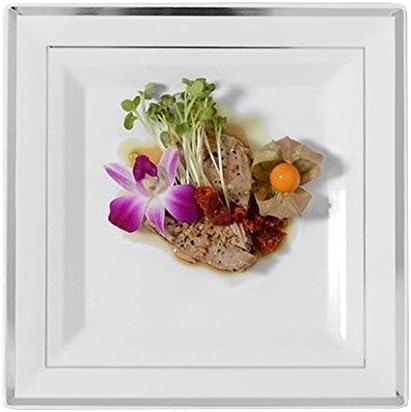 Fineline settings FL5510WH WhiteSilver Band 10 Dinner Plate Square Splendor 120Case