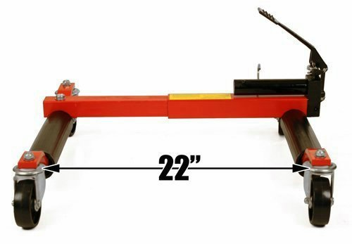 (4) Dragway Tools Hydraulic Wheel Dolly 12'' Wide Lift Jack Hoist 1500 lb Shop Tool Foot Pump and Storage Stand by Dragway Tools (Image #4)