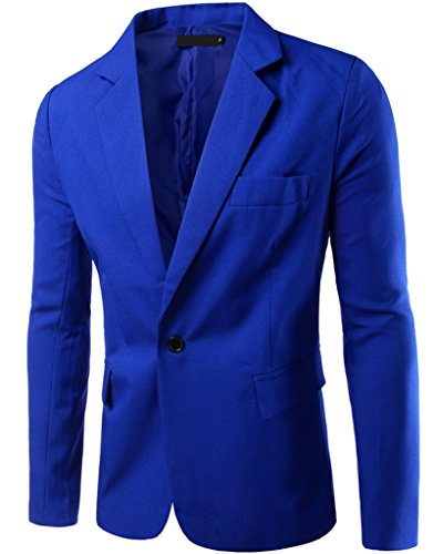 REYUY Mens Slim Fit Notched Lapel Single Breasted Suit Jacket Royal Blue
