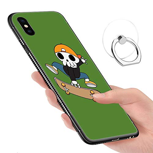 iPhone Xs Max Case,Tempered Glass Pattern Painted SK8 n Reap Bumper Cover for iPhone Xs Max