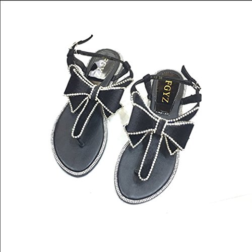 JUWOJIA Sweet Bows Diamond Bottomed Sandals New Summer Joker Casual Toe Beach Sandals.Thirty-Eight Thirty-eight
