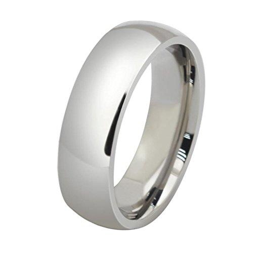 AMDXD Jewelry Titanium Stainless Steel Unisex Fashion Finger Rings Smooth Glaze White 6MM Wide US Size 10