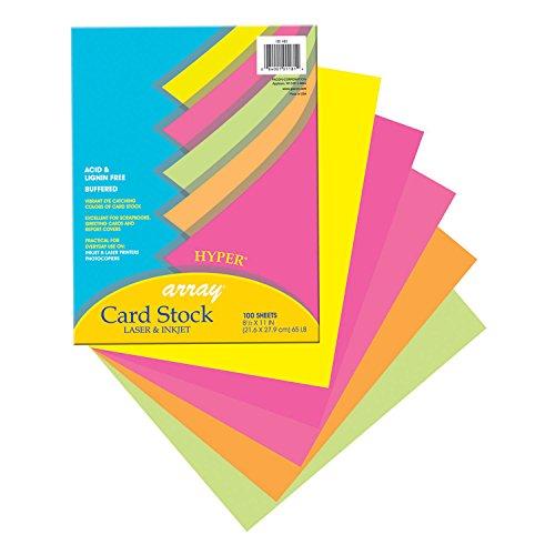 Assortment Colors Hyper (Pacon PAC101181BN Card Stock, Hyper Assortment, 5 Colors, 8-1/2