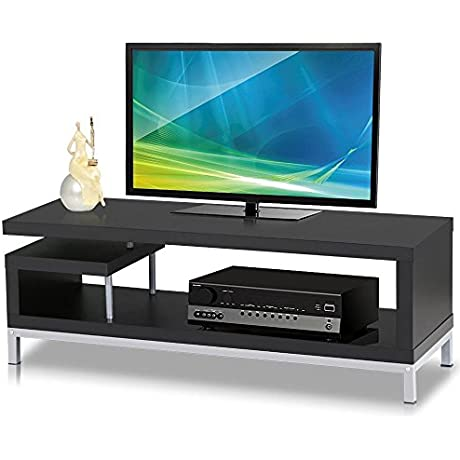Topeakmart Black Wood TV Stand Console Table Home Entertainment Center Media Cabinets With Steel Leg For 45 Flat Screens