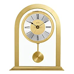 Acctim Colney Mantel Clock in Brushed Metal Glass Gold Fireplace