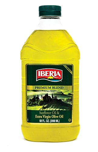 Iberia Extra Virgin Olive Oil & Sunflower Oil Blend (2 Liter) High Heat Frying, All Purpose Cooking Oil, Baking & Deep Frying Oil from Spain, Kosher
