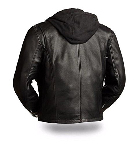 First Manufacturing Mens Motorcycle Riding Thick Leather Scoter Jacket with Removable Huddy Peforate (XL Regular)