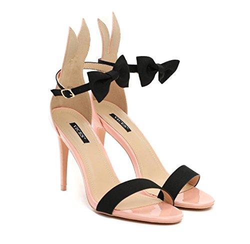 VICES selection design Alice Bunny High Heel Sandal - Beige, Black, Pink (US 6.5/EU 37, Pink) -