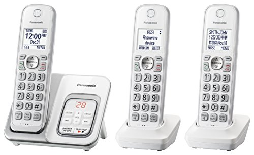 PANASONIC Expandable Cordless Phone System with Answering Machine and Call Block - 3 Cordless Handsets - KX-TGD533W (White) ()