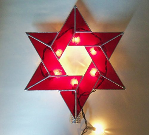 Amazon.com: Lighted Star of David, Interfaith Tree Topper, Stained ...