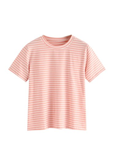Pink Striped Shirt (MakeMeChic Women's Casual Loose Striped Short Sleeve T-Shirt Tee Top Pink M)