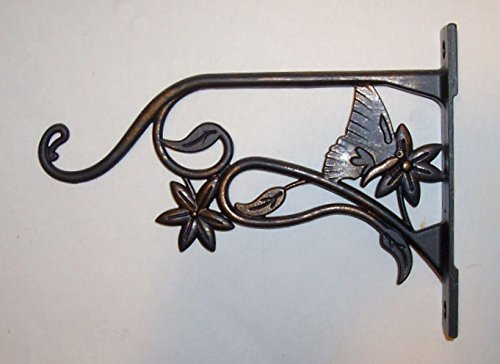mitive Style ~ All Metal - All-purpose - Utility Hanger - Accented With Butterfly and Vine - Use Indoor or Outdoor ( Ebony Black Finish - Extends 9 Inch From Wall) x (Ebony Metal Finish)