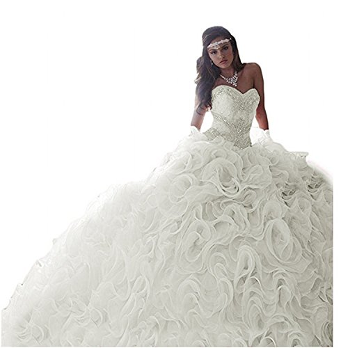 HeleneBridal 2019 Women's Sweetheart Beading Quinceanera Dresses for Sweet 16 Organza Ruffles Prom Ball Gowns Ivory