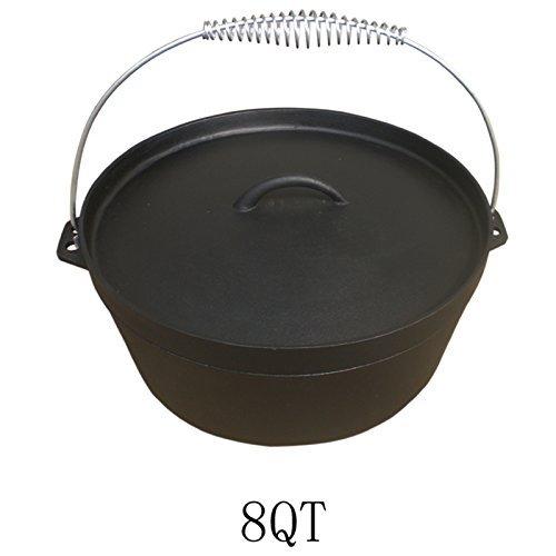 Dutch Oven 8QT Dutch-Oven aus Gusseisen Fertig eingebrannt 12er Koch-Topf aus Gusseisen voreingebrannt
