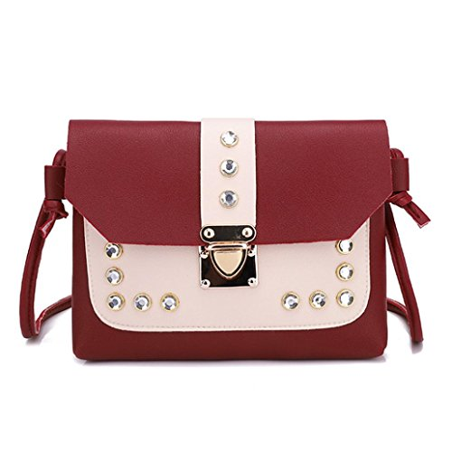 Tote Red Rhinestone Hit Women KIMODO Crossbody Messenger Shoulder Bags Bag Satchel Color HFS8wZ8q