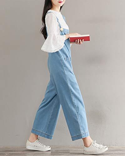 Mujeres Largos Vaquero Ancha Pantalón Bolsillo Jeans Pierna Bib con Azul1 Babero Jumpsuits rZ7w4rq
