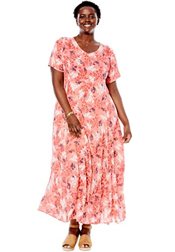 Women's Plus Size Short Sleeve Crinkle Dress Pink Shadow Leaf,1X
