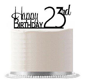 CakeSupplyShop Item#AE-126 Happy 23rd Birthday Agemilestone Elegant Cake Topper (Happy Birthday Cake 23)