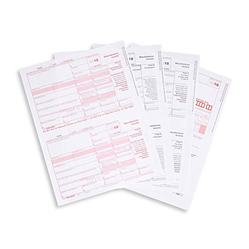 1099 MISC 5 Part Tax Forms Kit, 50 Vendor Kit of Laser Forms Designed for QuickBooks and Accounting Software
