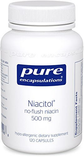 Pure Encapsulations - Niacitol 500 mg - Hypoallergenic No-Flush Niacin to Support Digestion, Hormone Synthesis, and Tissue Formation* - 120 - Natural 120 Hormone Growth Capsules