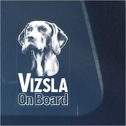 Vizsla Clear Vinyl Decal Sticker Portrait for Window, Hungarian Pointer Dog Sign Art Print