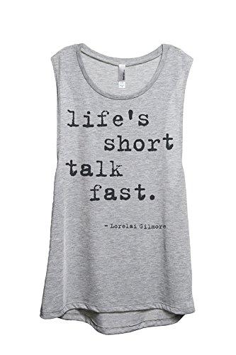 Thread Tank Lifes Short Talk Fast Women's Sleeveless Muscle Tank Top Tee Sport Grey Small (Womens Fast Life)