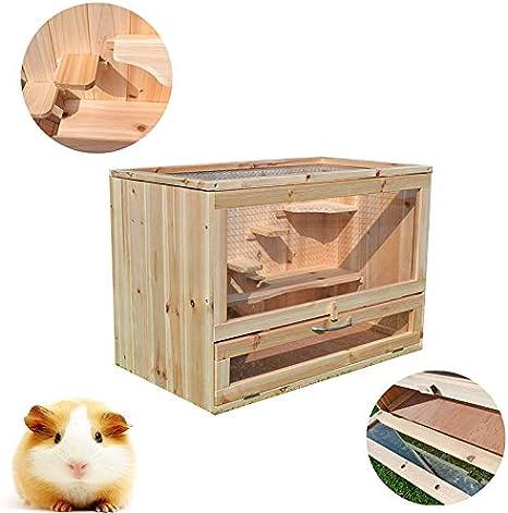 WTTTTW Jaula para Conejos de hámster, chasis de cajón de Madera Maciza fácil de Limpiar, Villa para Mascotas con Divertidas escaleras para Subir: Amazon.es: Deportes y aire libre