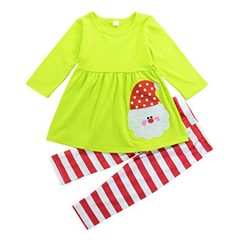 - 1-6T Toddler Little Girls Christmas Outfits Santa Claus Green T Shirt Tops Red Pants 2Pc Set (Green Long Sleeved Blouse + Striped Trousers, 5T / 5.5 Years Old)