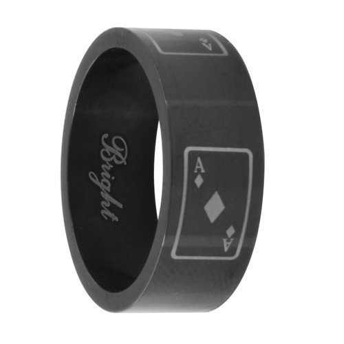 JewelryVolt Stainless Steel Ring Symbol Laser Etched Ace of Diamonds Polished Black IP Flat Fit Band (Aces 9)