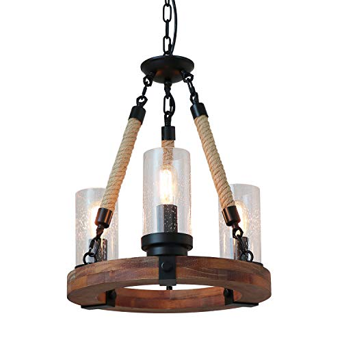 Giluta Wooden Ring Hemp Rope Chandelier Retro Farmhouse Style Pendant Lighting Vintage Round Ceiling Light Fixtures 3 Lights with Seeded Glass Shade, Brown C0047