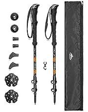 Cascade Mountain Tech Aluminum Adjustable Trekking Poles - Lightweight Quick Lock Walking Or Hiking Stick - 1 Set (2 Poles)