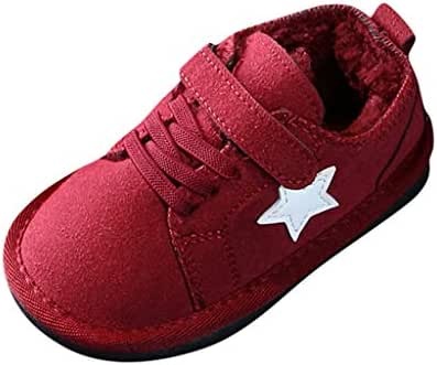 MIS1950s Children Kids Baby Solid Flat Sole Winter Warm Short Boots Snow Bootie Thickening Walking Shoes